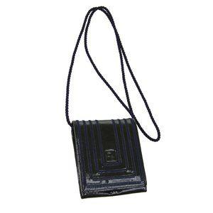 FENDI Logos Shoulder Bag Pochette Green Navy